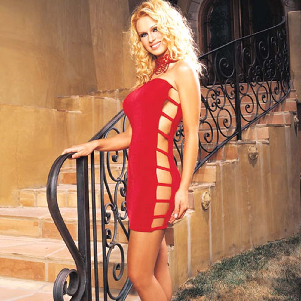 Slinky Tube Dress with Open Side Red - View #2