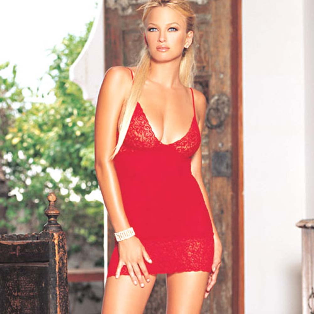 Opaque Chemise with Lace Trim Red - View #1