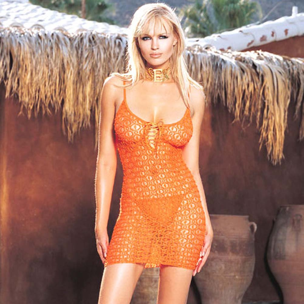 Lace Mini Dress And Matching G-String Orange - View #2