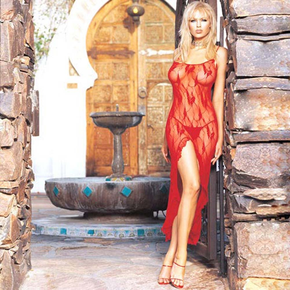 Lace Dress And G-String Set with Slit Red - View #1
