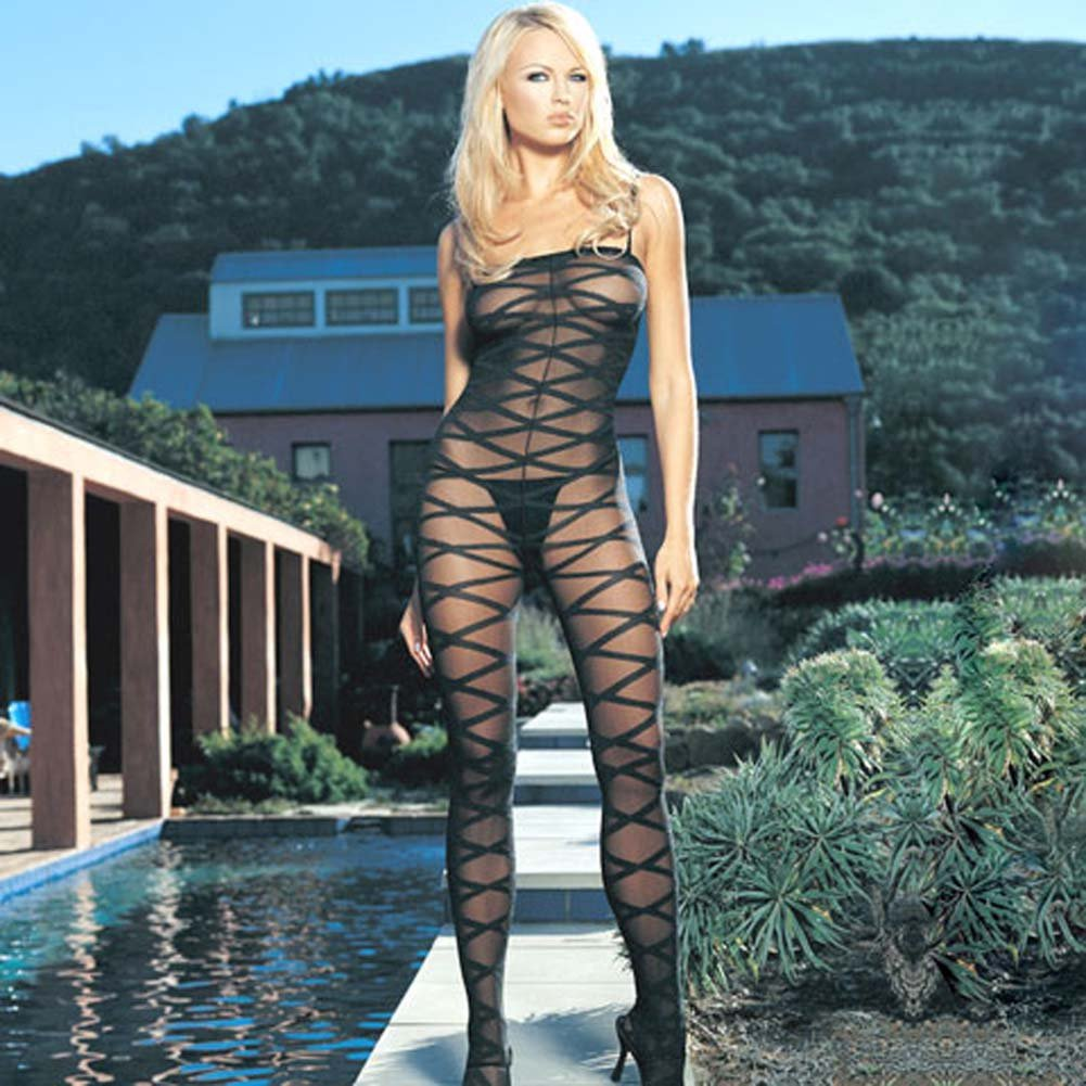 Sheer Criss Cross Bodystocking - View #1