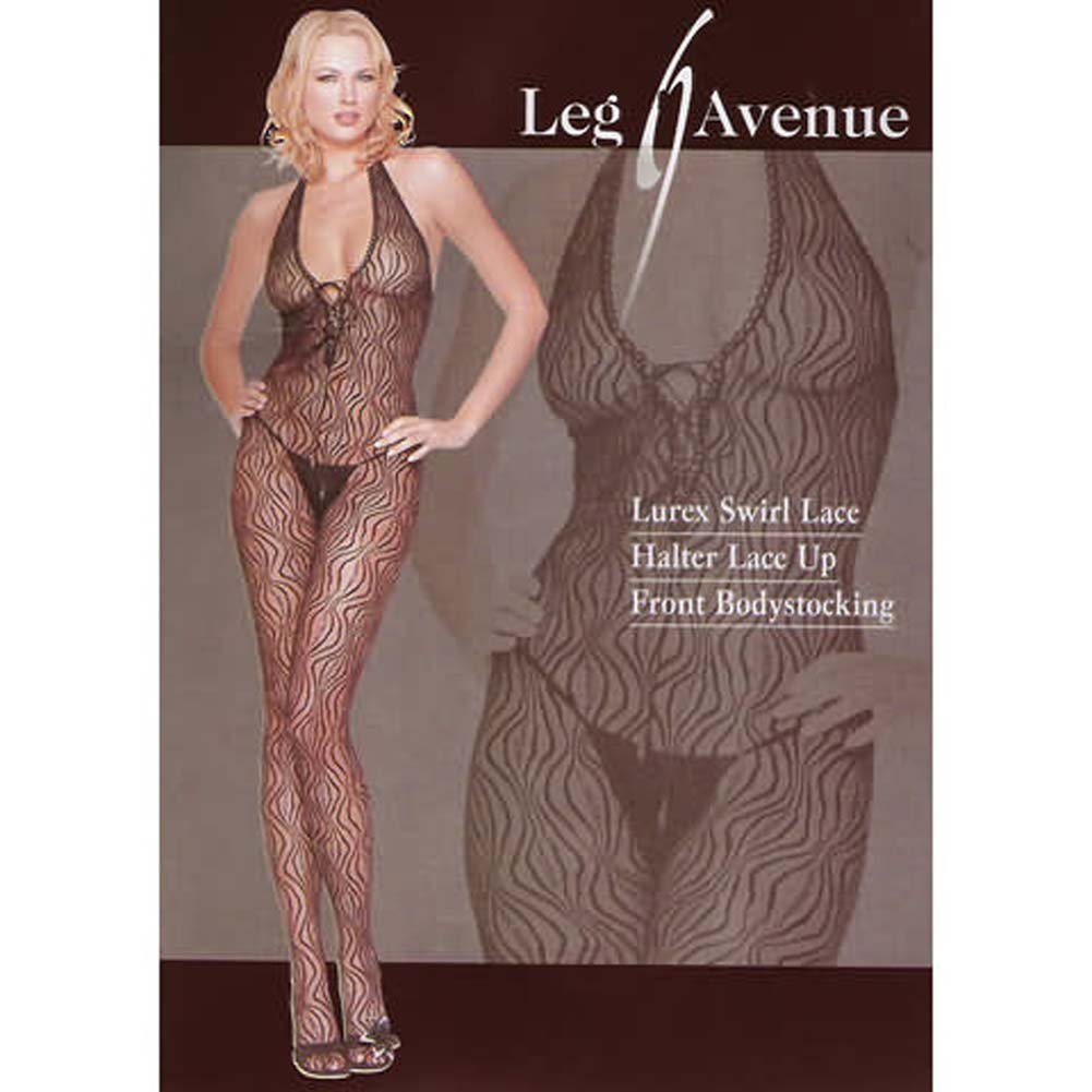 Lurex Swirl Lace Halter Bodystocking - View #1