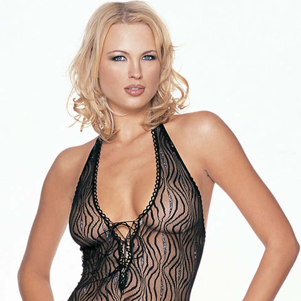 Lurex Swirl Lace Halter Bodystocking - View #3