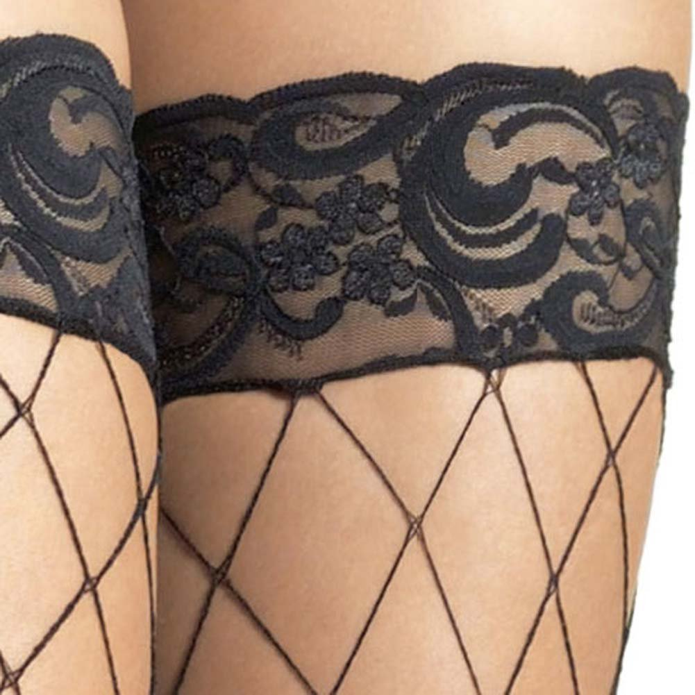 Fence Net Stockings with Lace Top One Size Black - View #4