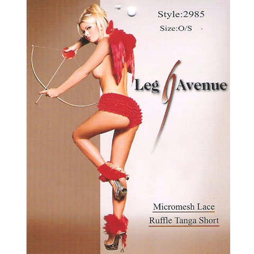 Micromesh Lace Ruffle Tanga Short Red - View #1