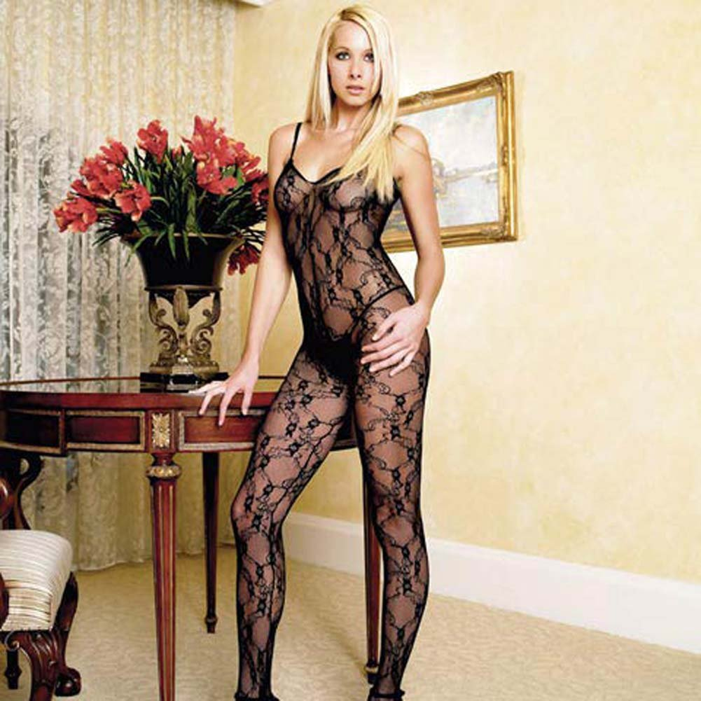 Floral Lace Crotchless Bodystocking Black - View #1