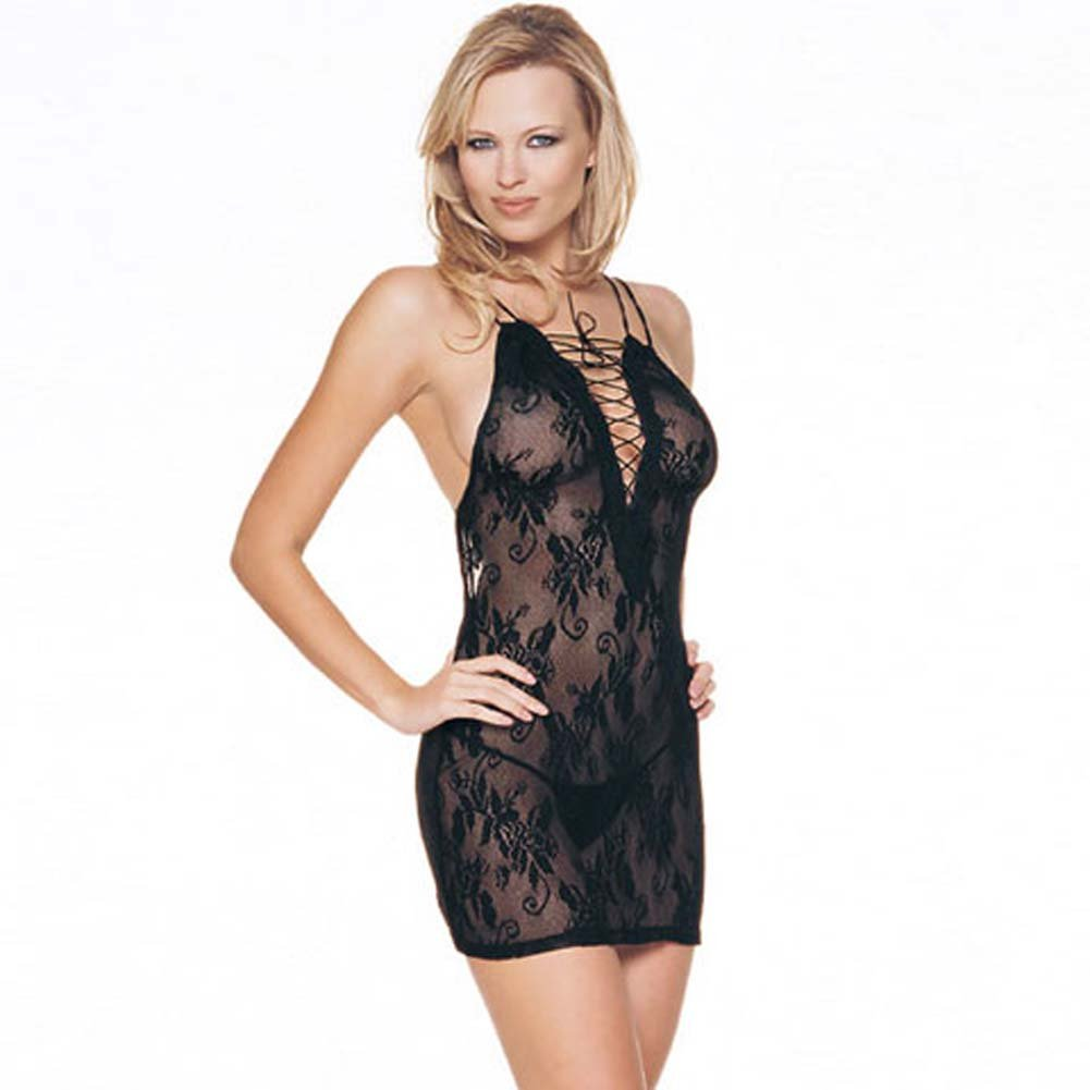 Lace Up Front Lace Dress and G-String Set - View #2