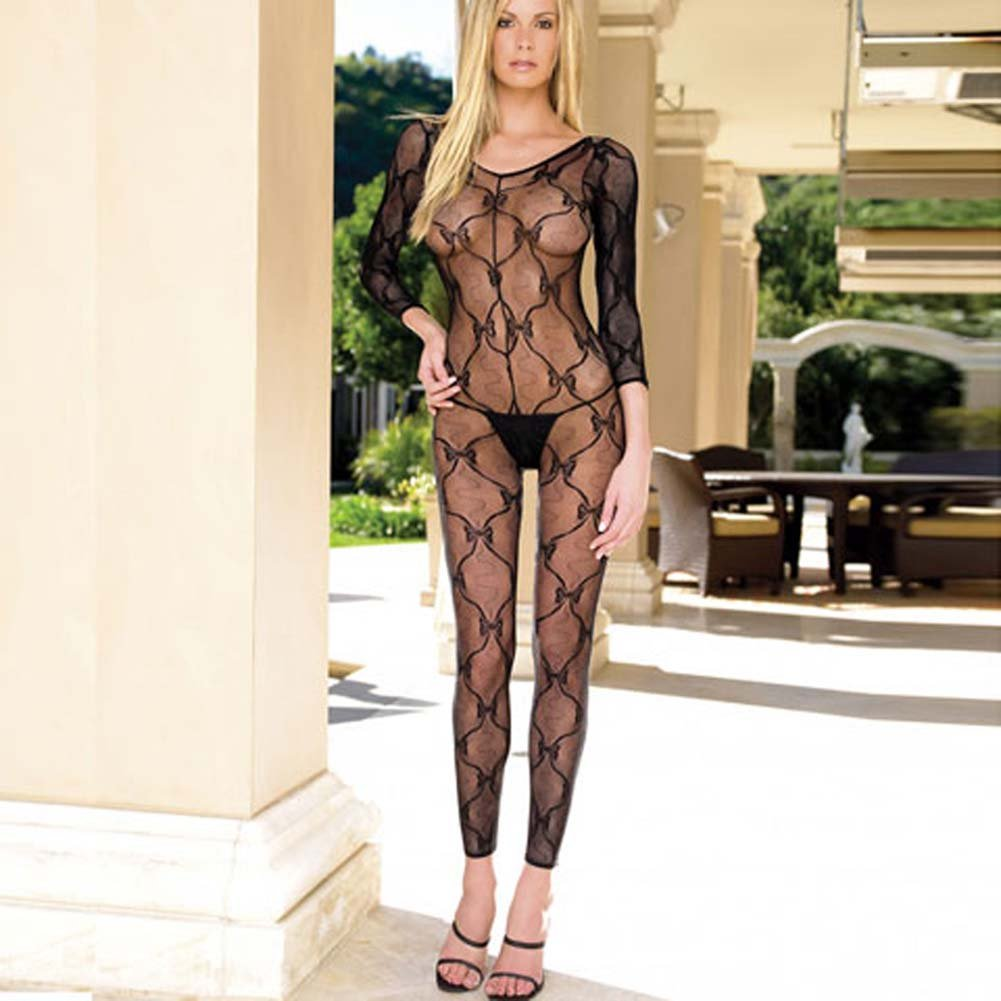 Footless Lace Bodystocking with Open Crotch - View #2