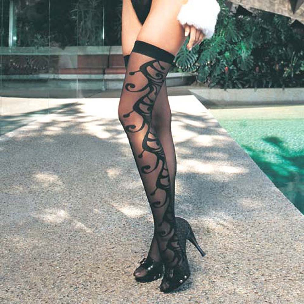 Swirl Jacquard Teddy and Stocking Set One Size Black - View #3