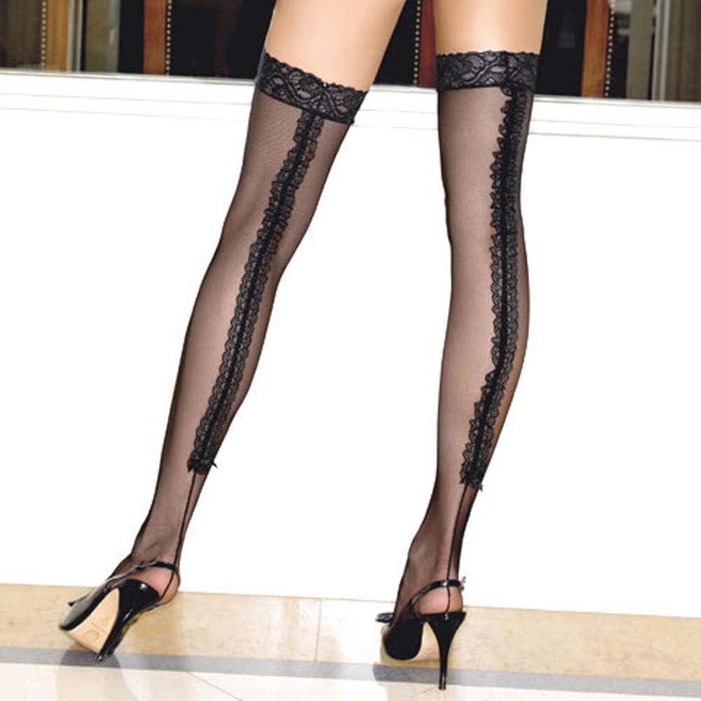 Stay Up Lace Top Lycra Mesh Stockings - View #1