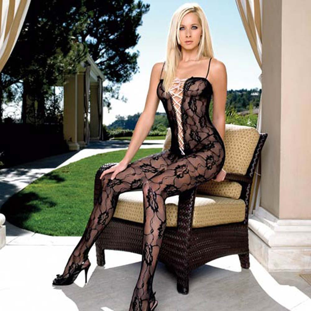 Lace Bodystocking with Ribbon Lace Up V Front - View #2