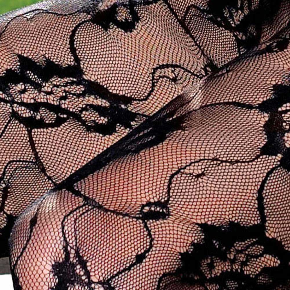 Lace Bodystocking with Ribbon Lace Up V Front - View #4