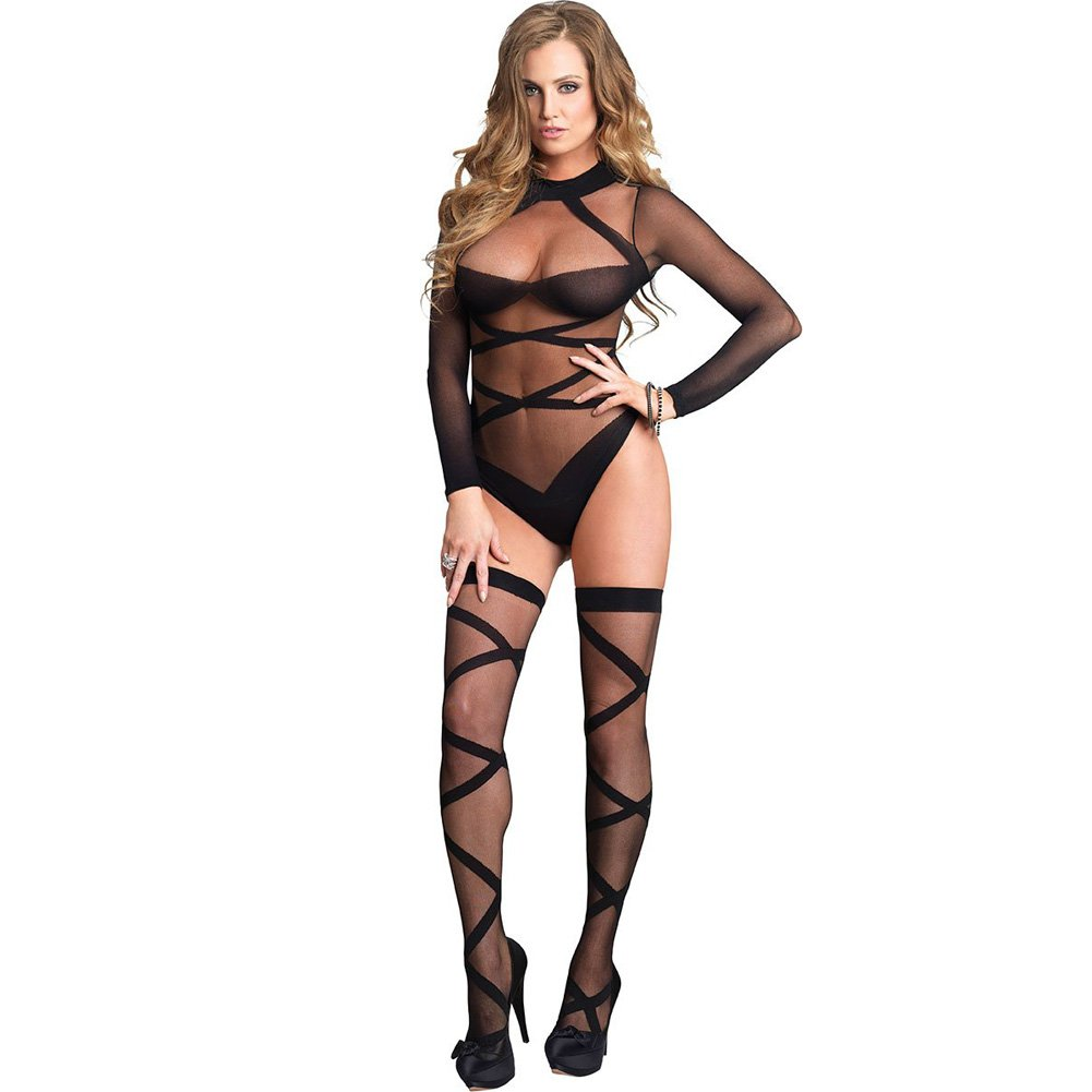 Opaque Sheer Criss Cross Bodysuit And Stockings Set One Size Black - View #1