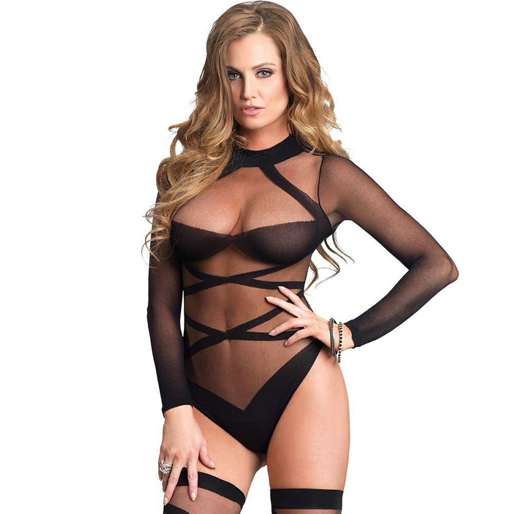Opaque Sheer Criss Cross Bodysuit And Stockings Set One Size Black - View #3