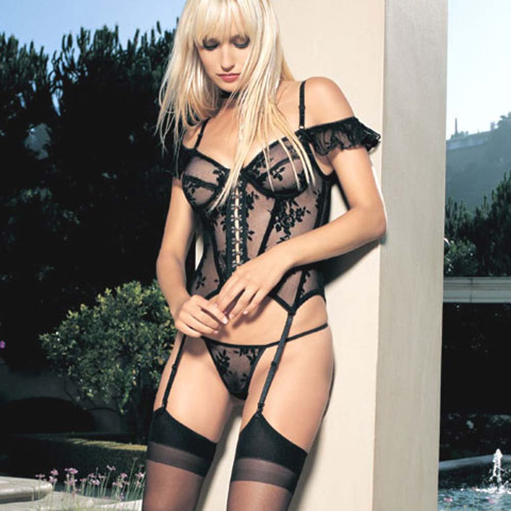 Lace Underwire Garter Bustier And G-String 2 Pc Set - View #1