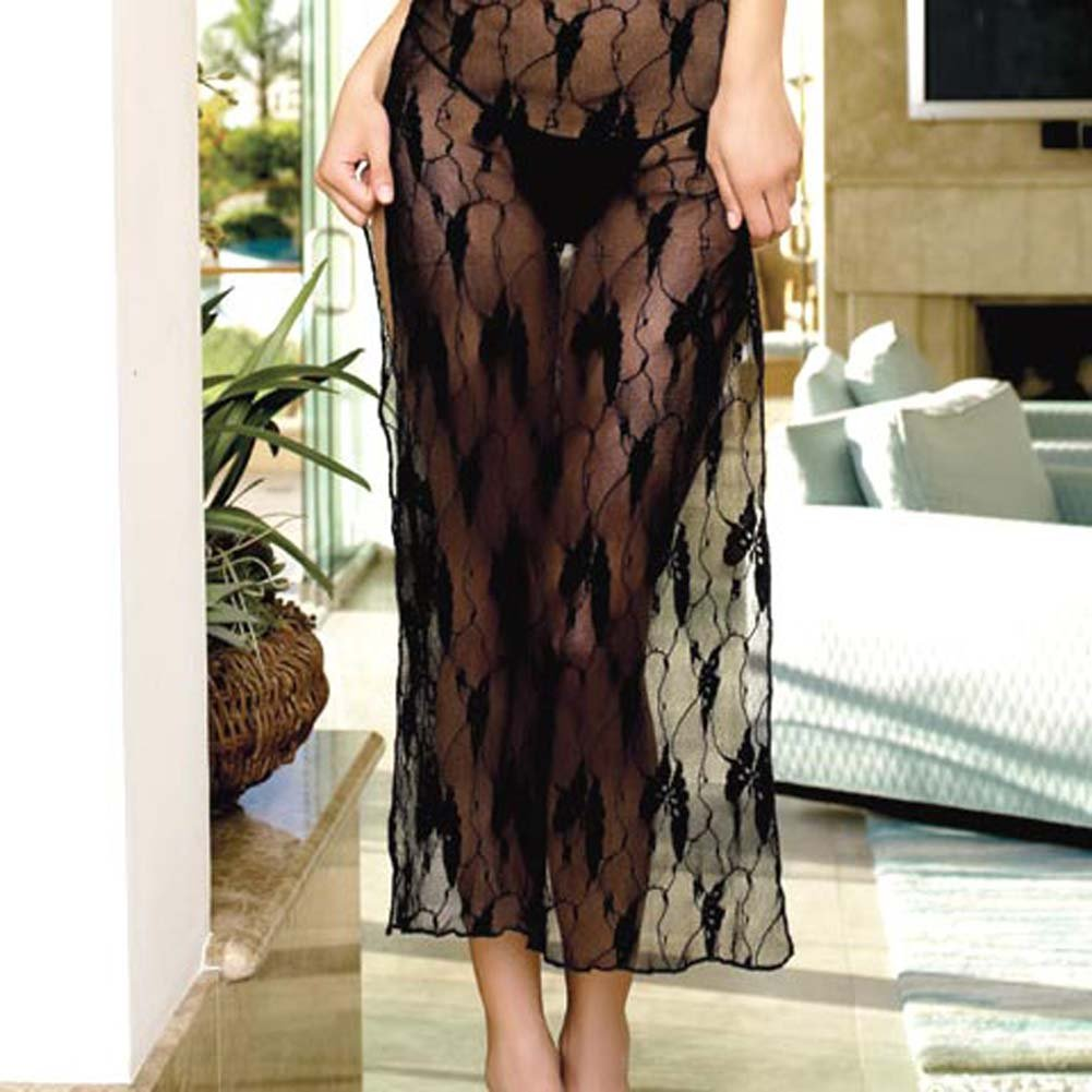 Lace Long Dress With Deep V And G-String 2 Pc Set - View #2