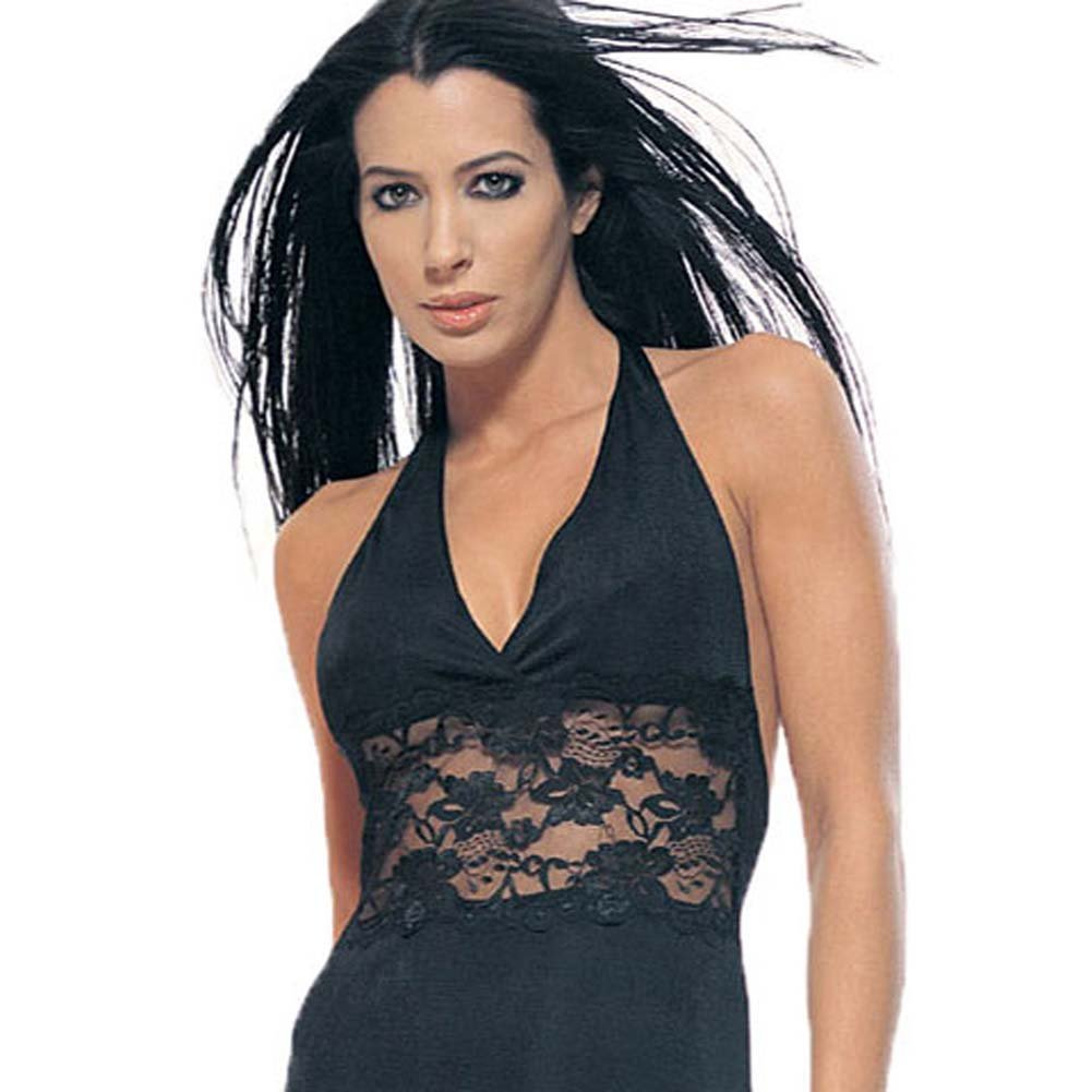 Slinky Halter Mini Dress With Lace Insert Black - View #1