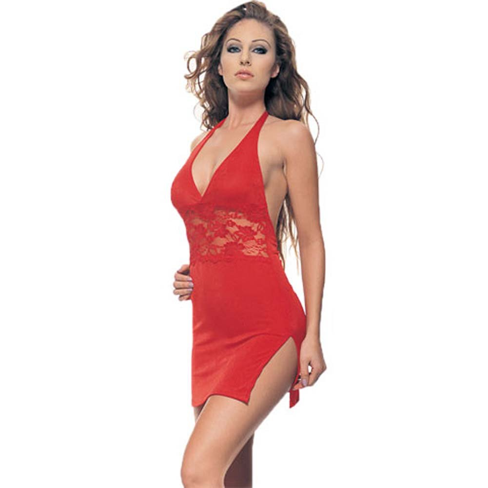 Slinky Halter Mini Dress With Lace Inset Red - View #2