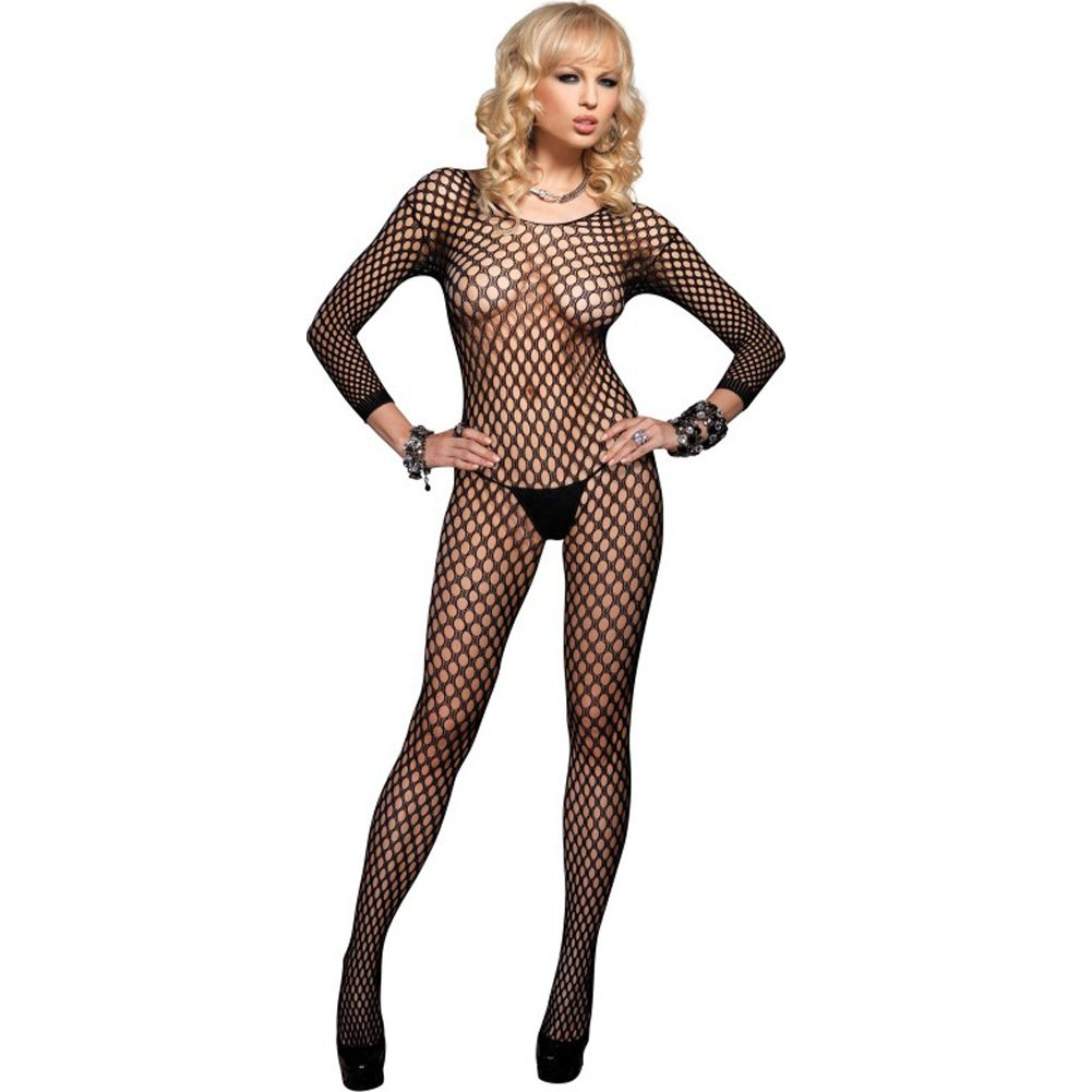 Leg Avenue Lycra Ring Hole Seamless Bodystocking One Size Black - View #2