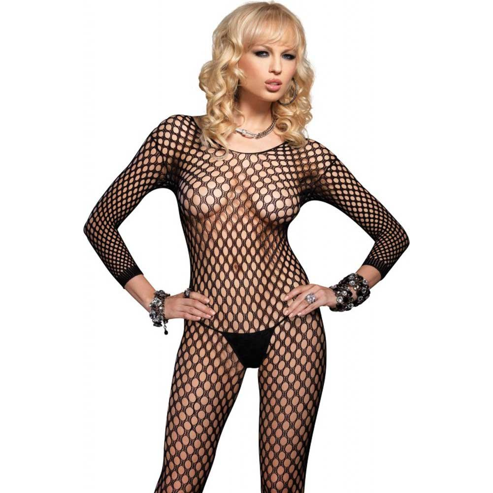 Leg Avenue Lycra Ring Hole Seamless Bodystocking One Size Black - View #4