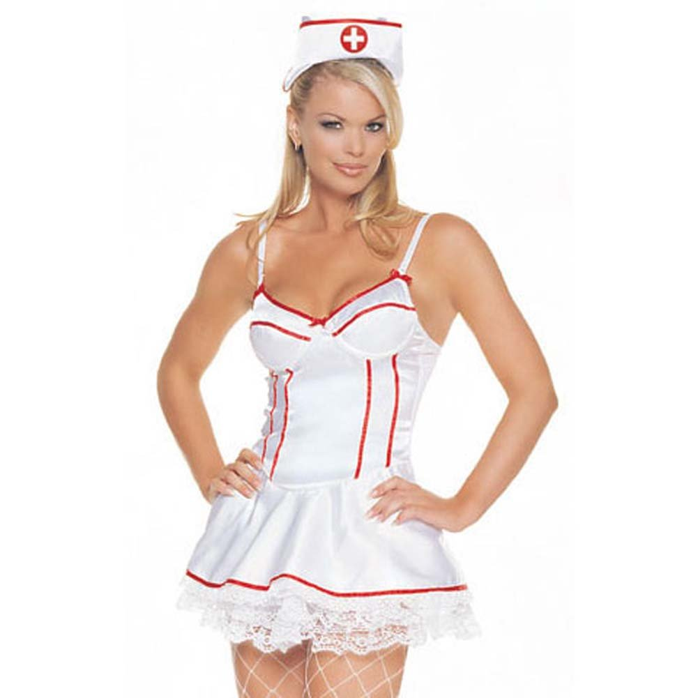 Satin Underwired Nurse Outfit 2 Pc Medium Size - View #2