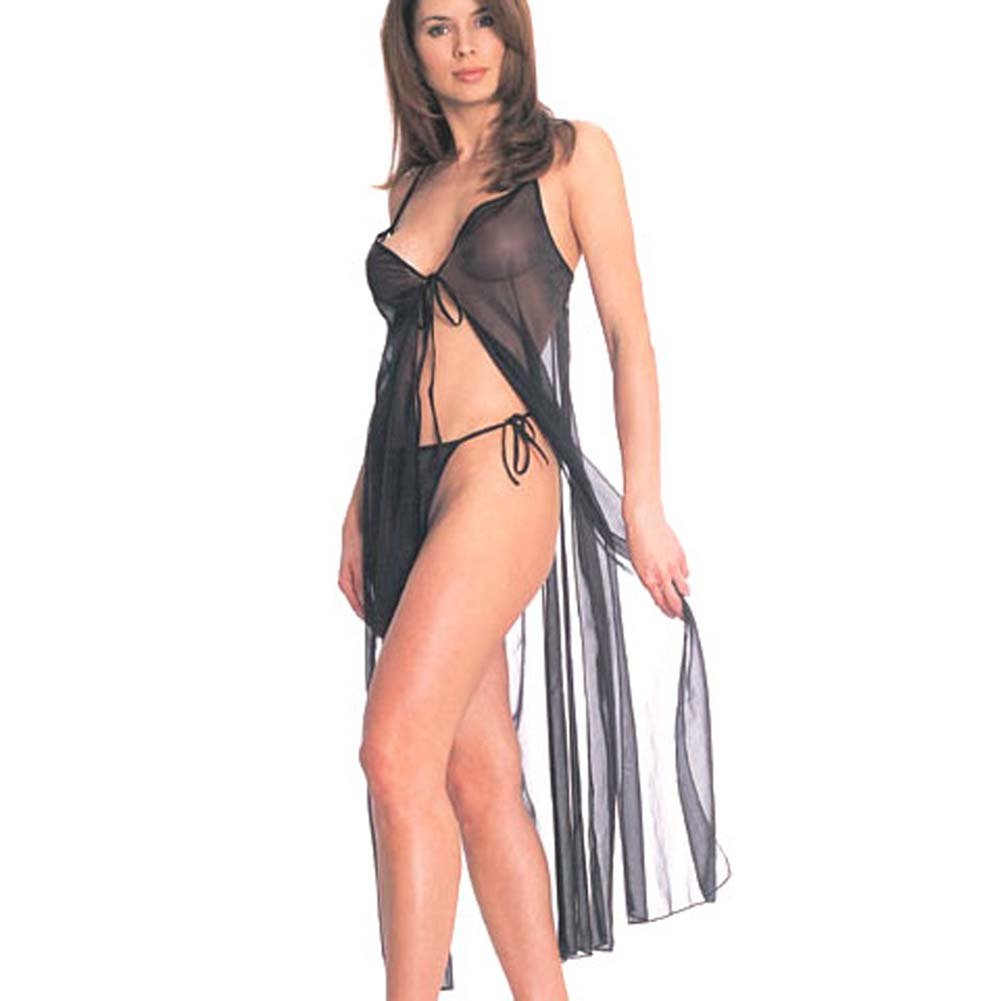 Tie Front Sheer Gown with Thong - View #1