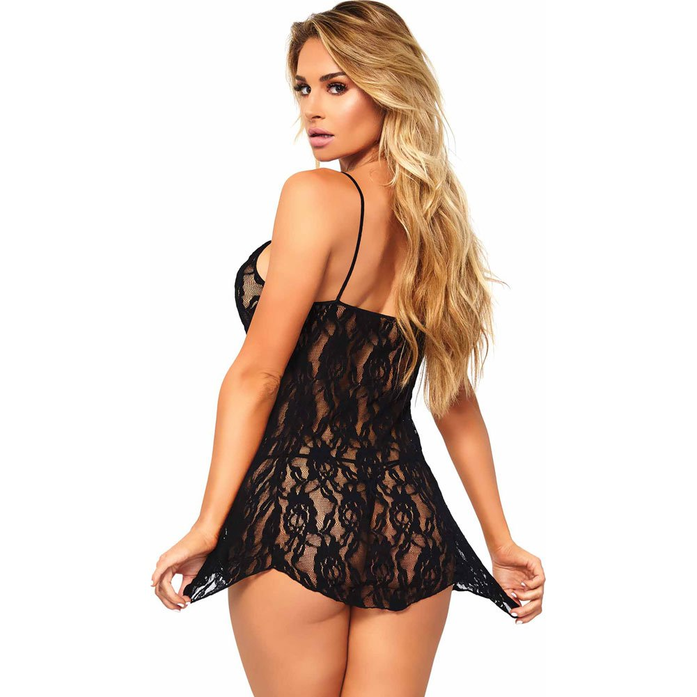 Leg Avenue Rose Lace Chemise with Matching G-String One Size Classic Black - View #2