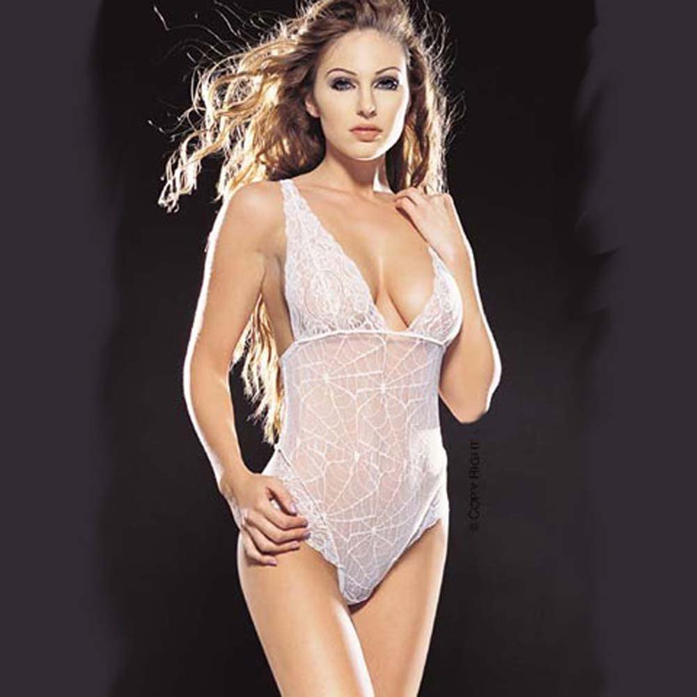 Spider Web Lace Teddy White - View #2