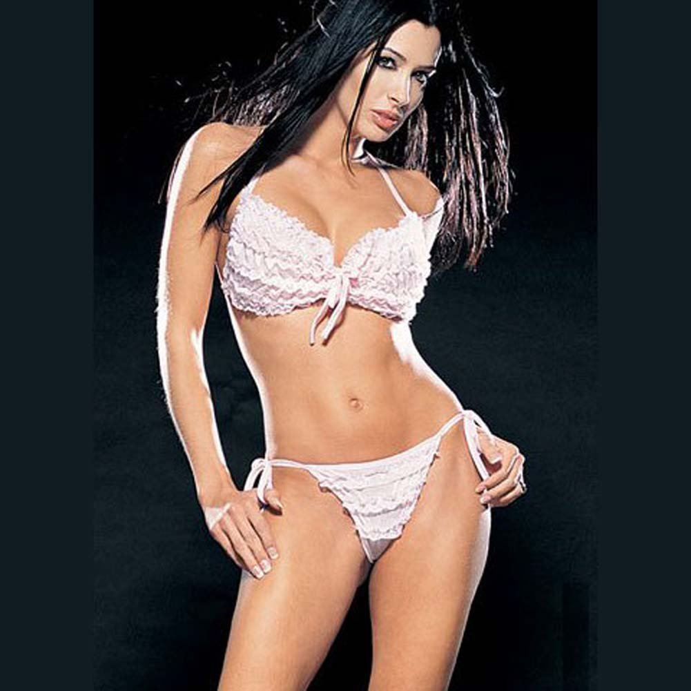 Lace Ruffle Bikini Top and Tie Side Thong Set White - View #1