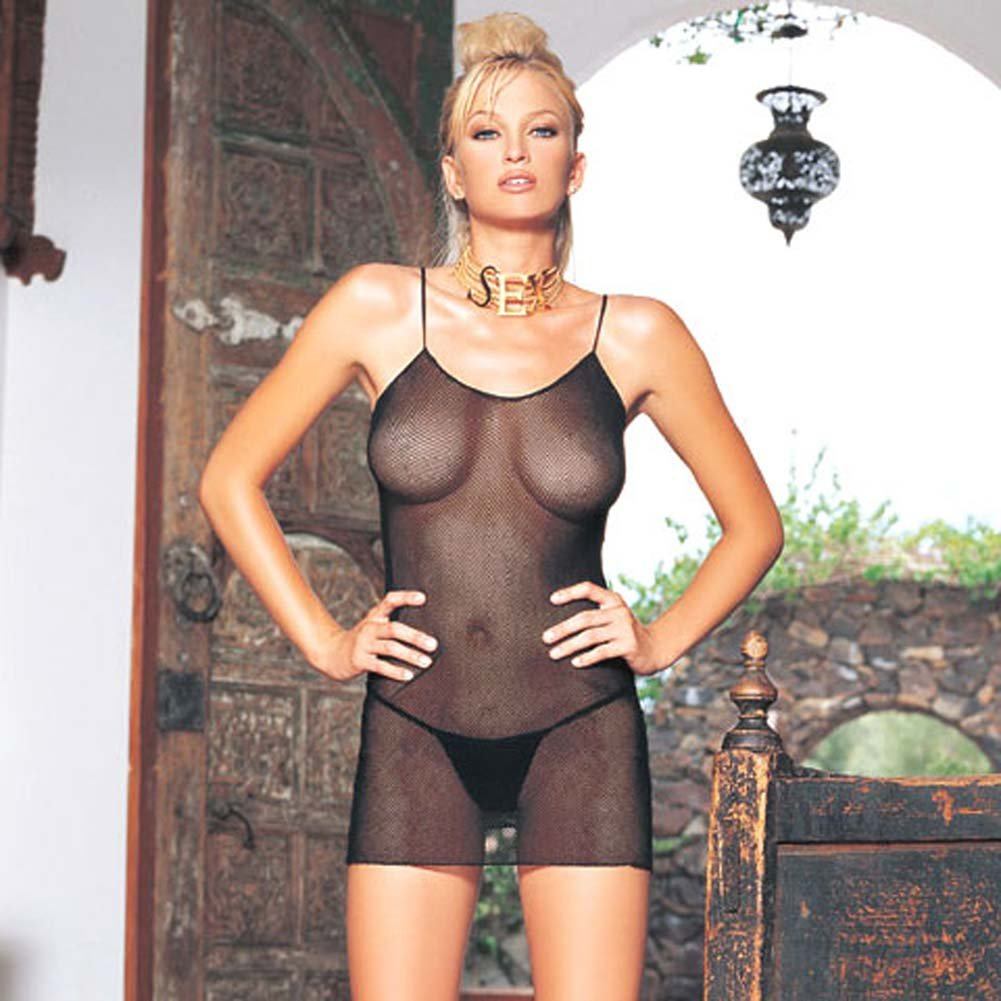 Fishnet Mini Dress With G-String Black - View #1