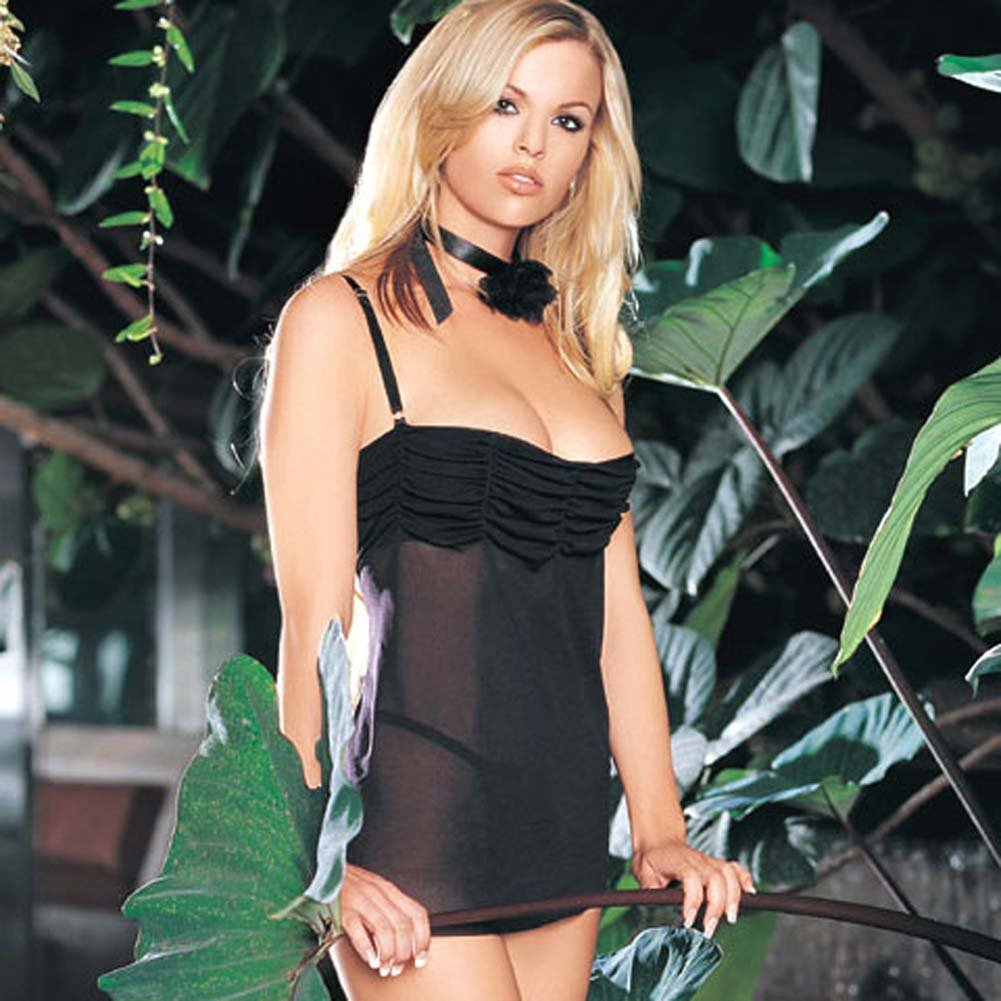 Ruched Top Mesh Dress with G-String and Choker Black - View #1