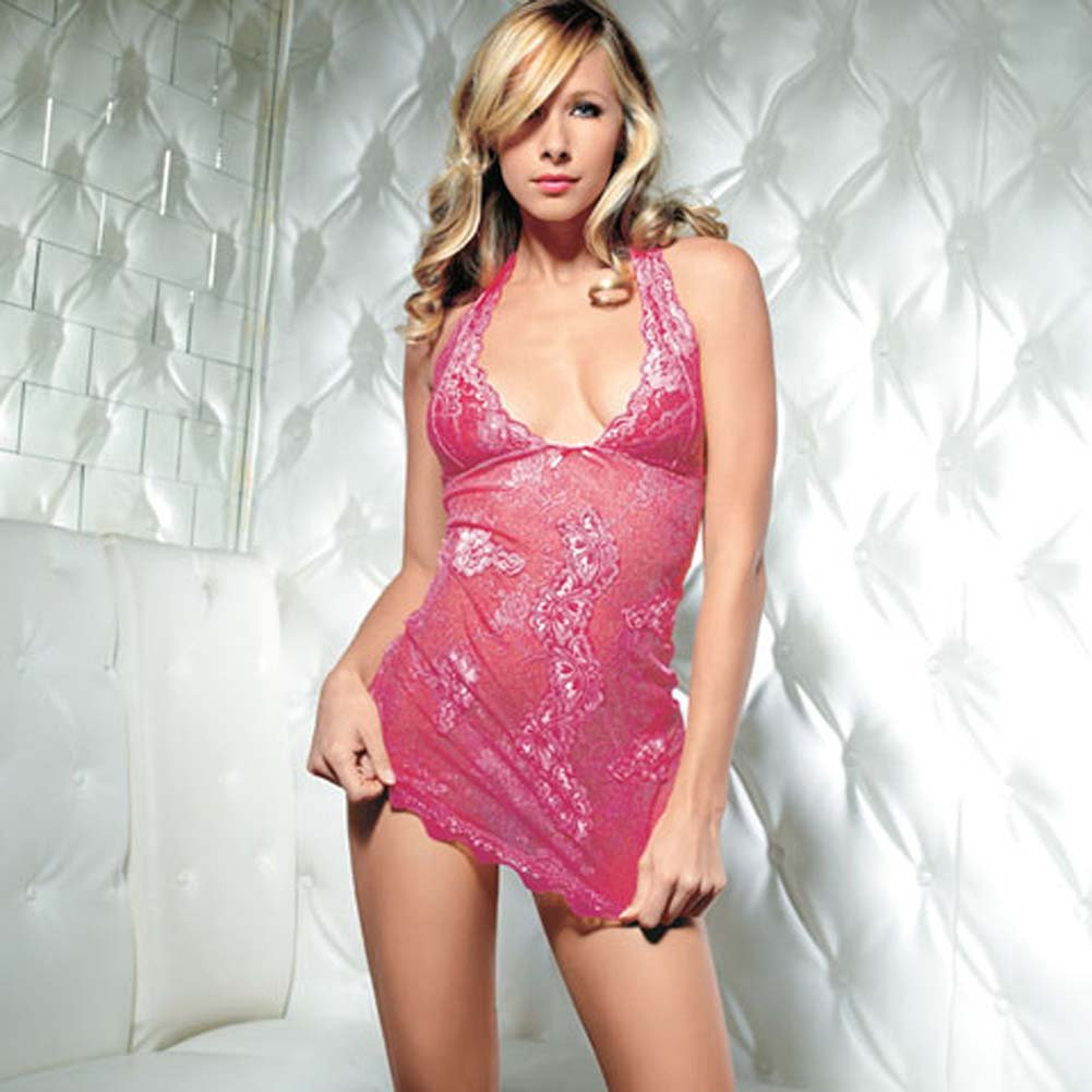 Halter Lace and Mesh Dress and G-String 2 Pc. Set - View #2