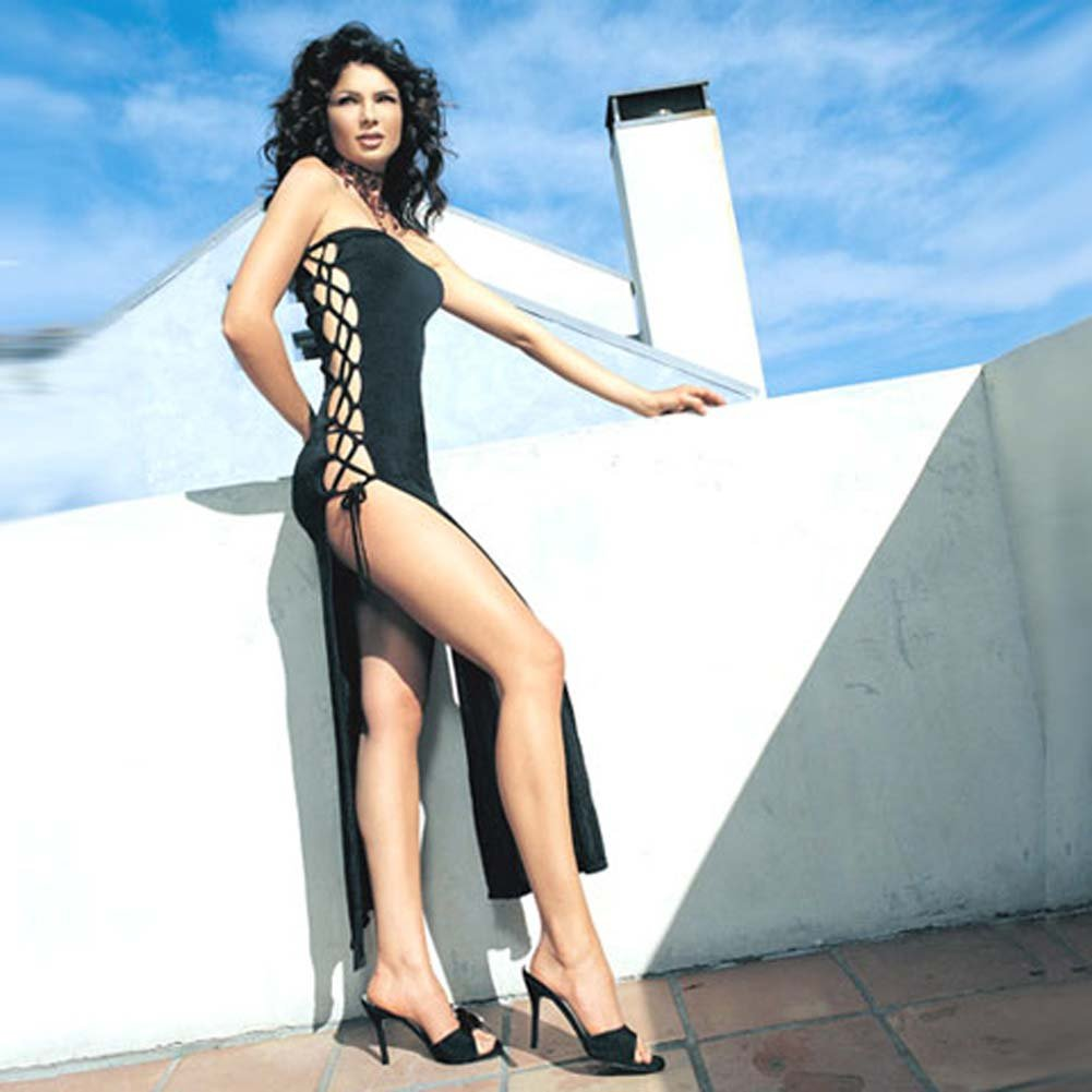 Slinky Long Tube Dress With Lace Up Sides Black - View #1