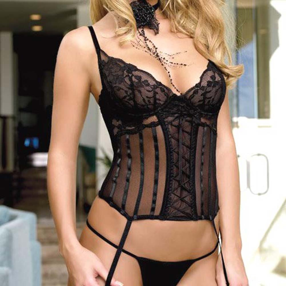 Lace And Mesh Camigarter With G-String Black Large - View #1