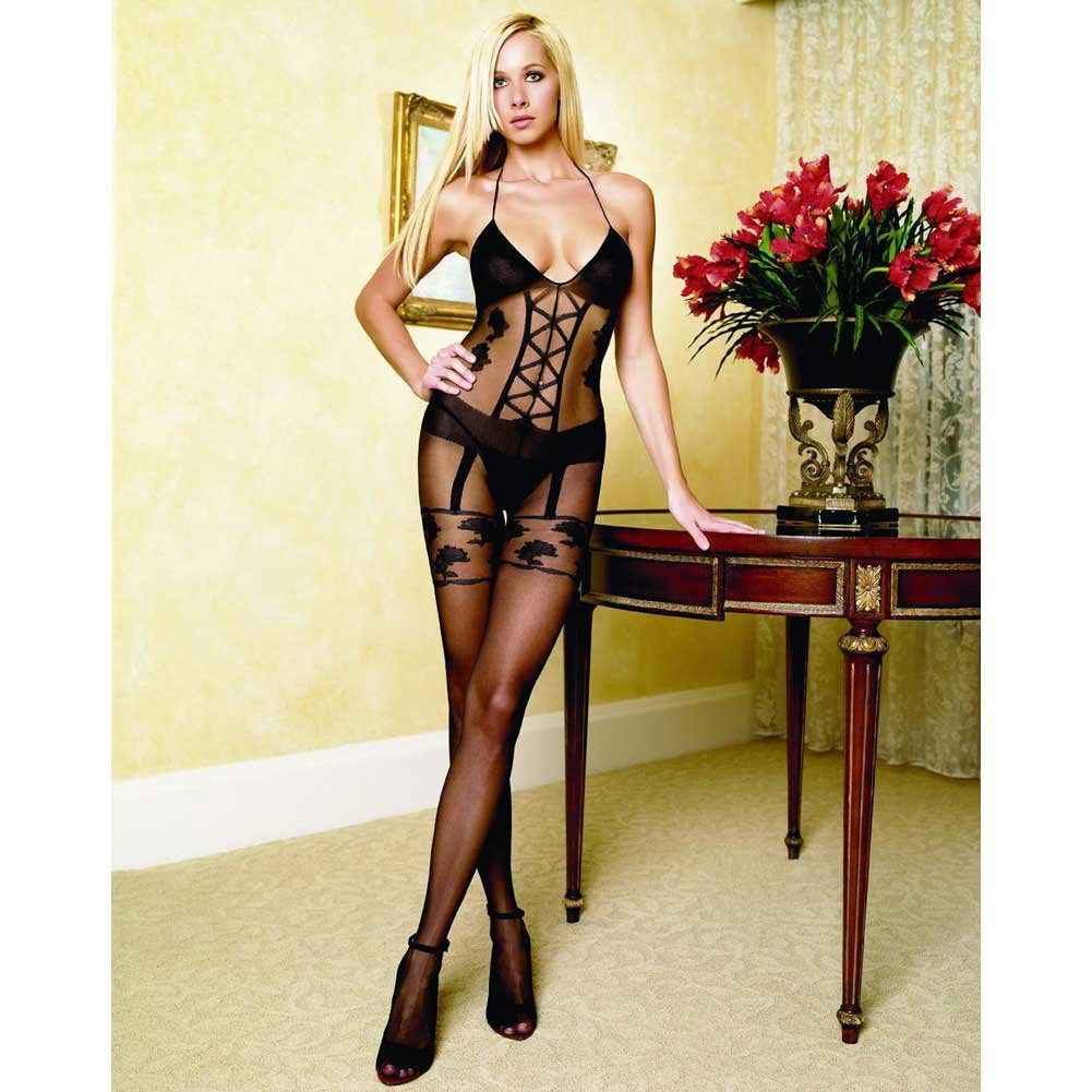 Faux Garter Corset Teddy Bodystocking One Size Black - View #3