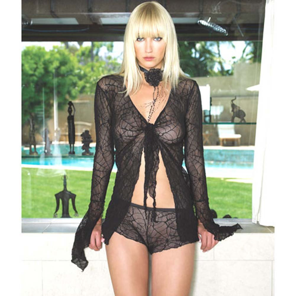 Spider Lace Tie Top with Shorts Set 2 Pc. Black - View #1