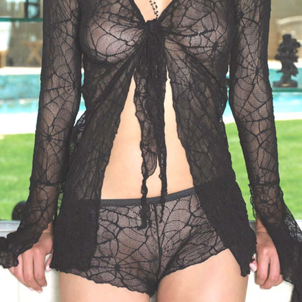 Spider Lace Tie Top with Shorts Set 2 Pc. Black - View #3