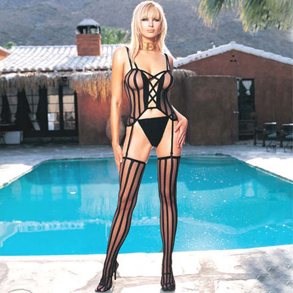 Criss Cross CamiGarter with G-String and Stockings 3 Pc Set One Size Black - View #4