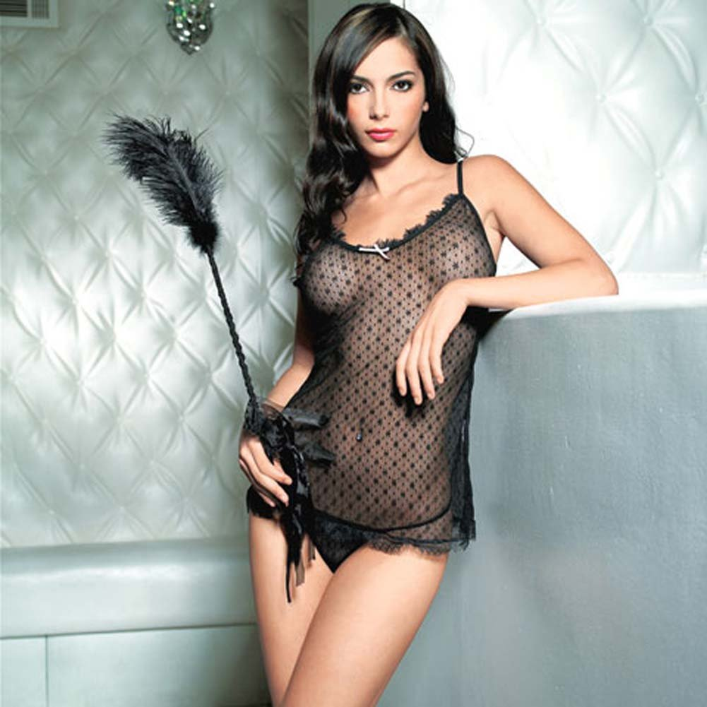Mini Daisy Lace Chemise with Eyelash Lace Trim Set Black - View #1