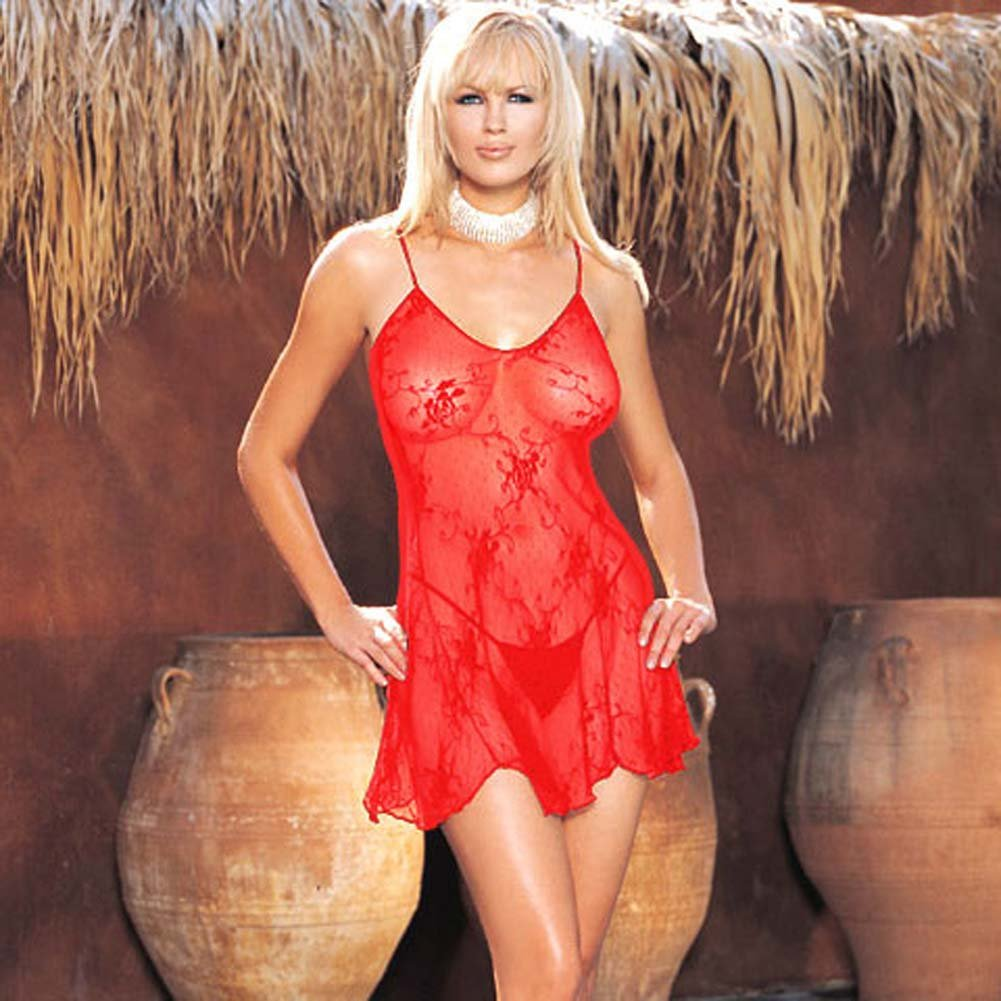 Rose Bud Lace Chemise with G-String 2 Pc. Red Set - View #2