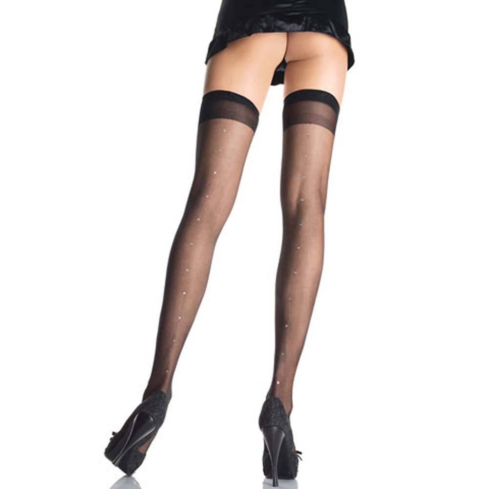 Sheer Thigh Highs with Rhinestone Back Seam - View #2