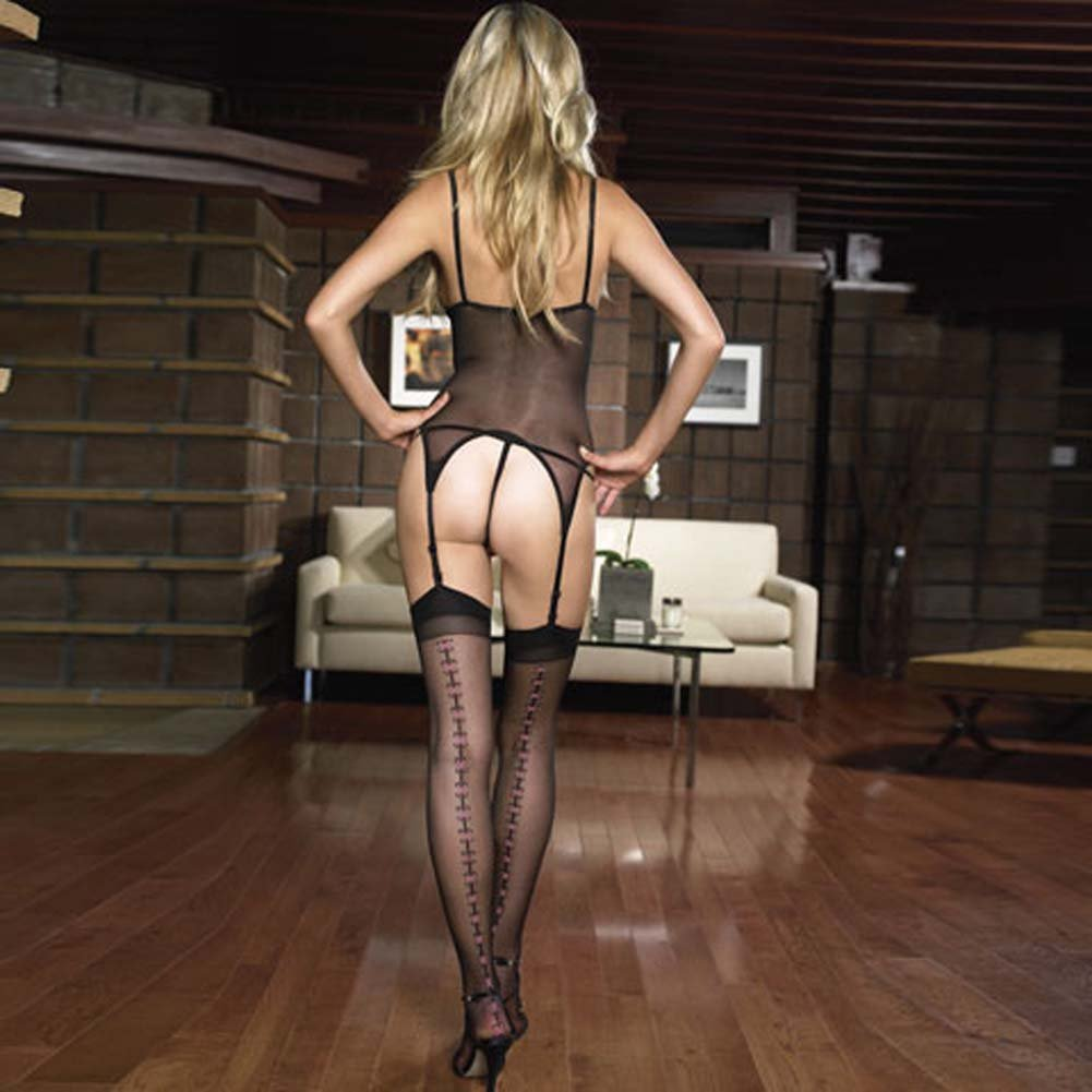 Lycra Sheer Cami Garter Set 3 Pc with G-String and Stockings - View #1