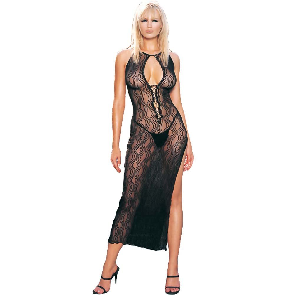 Swirl Lace Long Dress and G-String 2 Pc. Set One Size Black - View #1