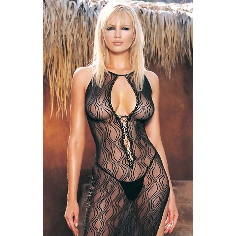 Swirl Lace Long Dress and G-String 2 Pc. Set One Size Black - View #3