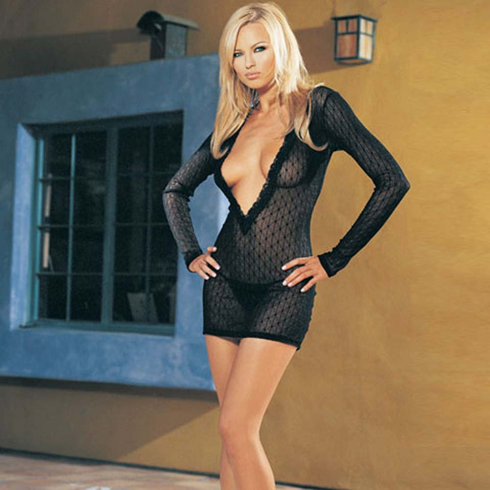 Long Sleeved Mini Daisy Lace Dress with G-String Set - View #1
