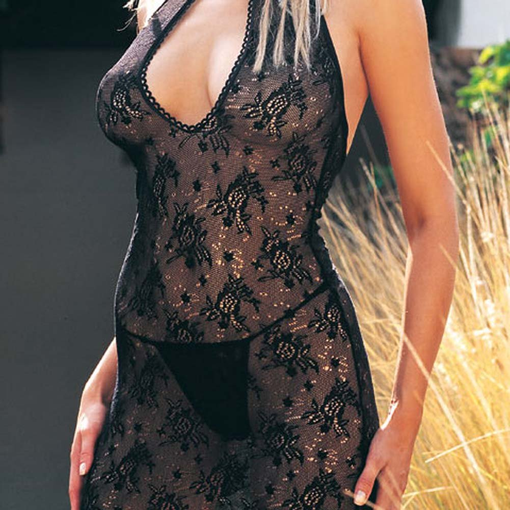 Lace Key Hole Micro Lace Dress and G-String Set 2 Pc. - View #1