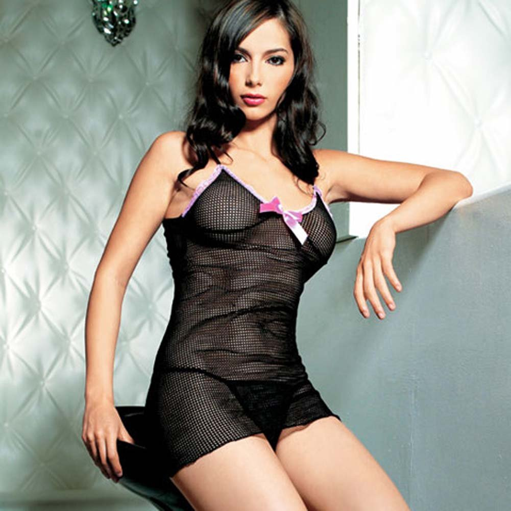 Fishnet Mini Dress with Satin Bow and G-String Set 2 Pc. - View #2