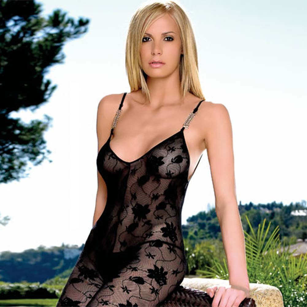 Lace Open Crotch Bodystocking with Chain Link Straps - View #2
