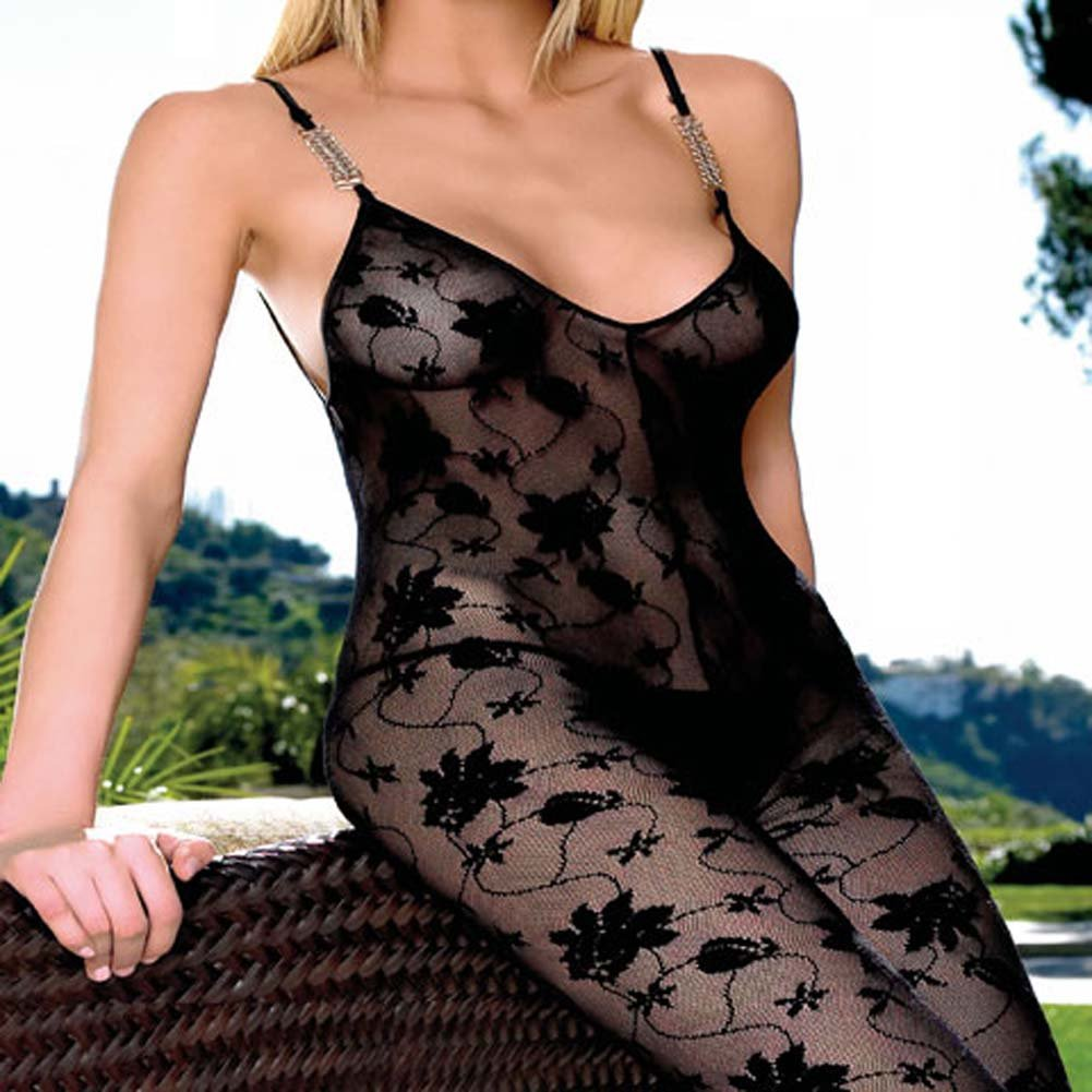 Lace Crotchless Bodystocking with Chain Straps Plus Size - View #2