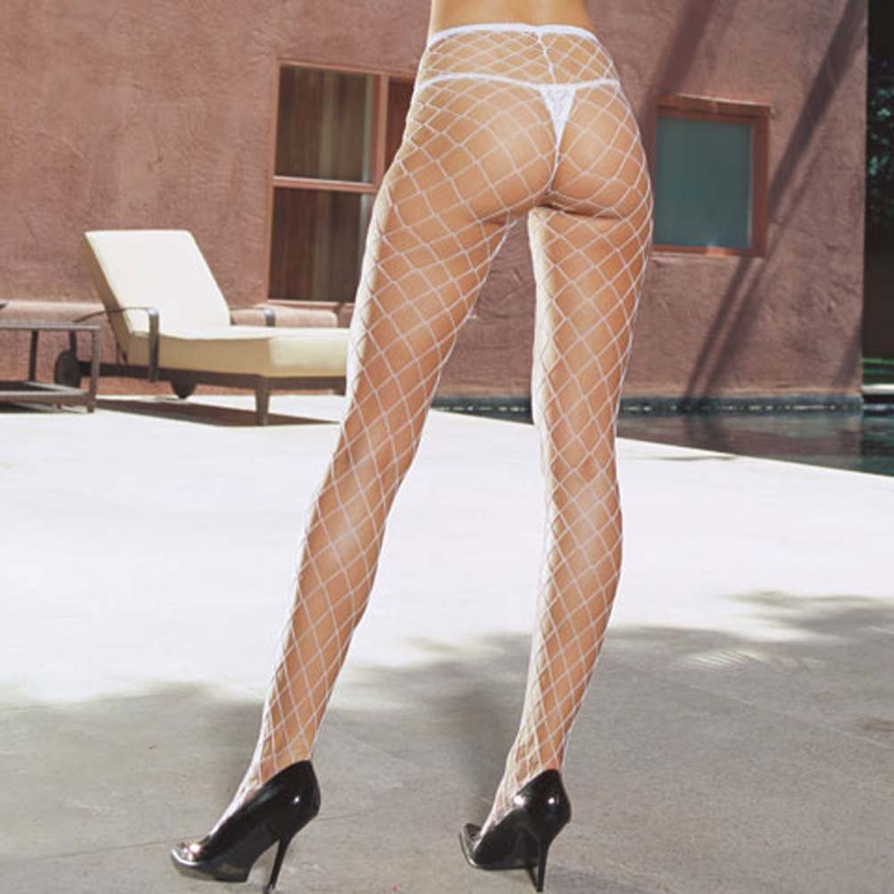 Lycra Dual Large Net Pantyhose One Size White - View #1